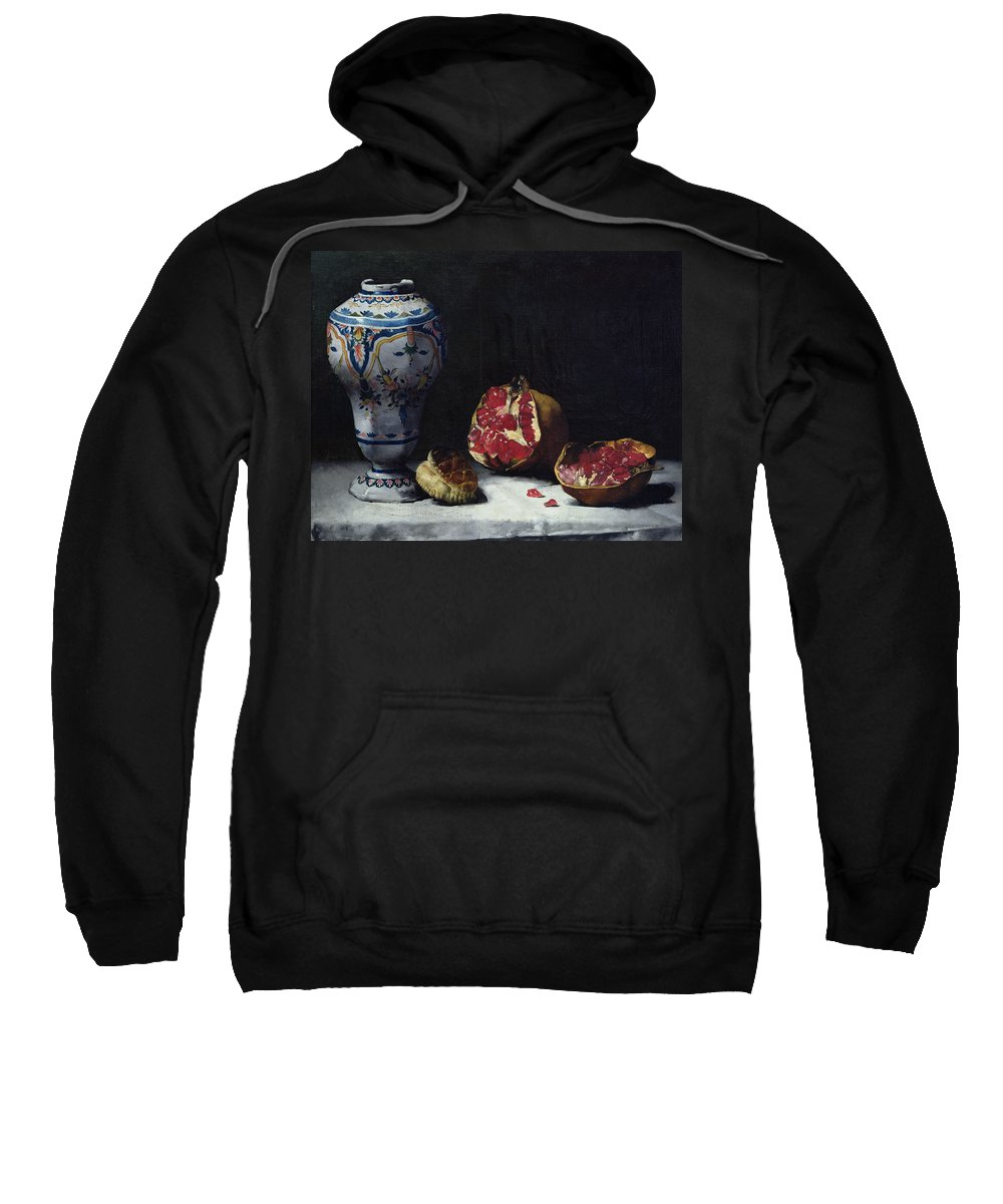 Still-life Sweatshirt featuring the painting Still Life With A Pomegranate by Auguste Theodule Ribot