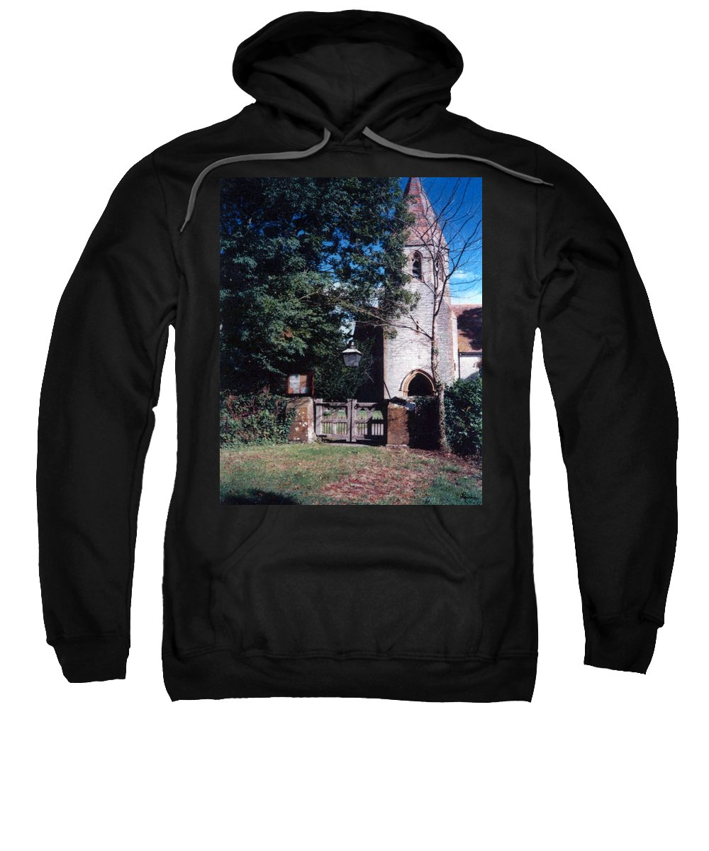 Old Photo Black And White Classic Saskatchewan Pioneers History Church Faith Sweatshirt featuring the photograph Still Strong by Andrea Lawrence