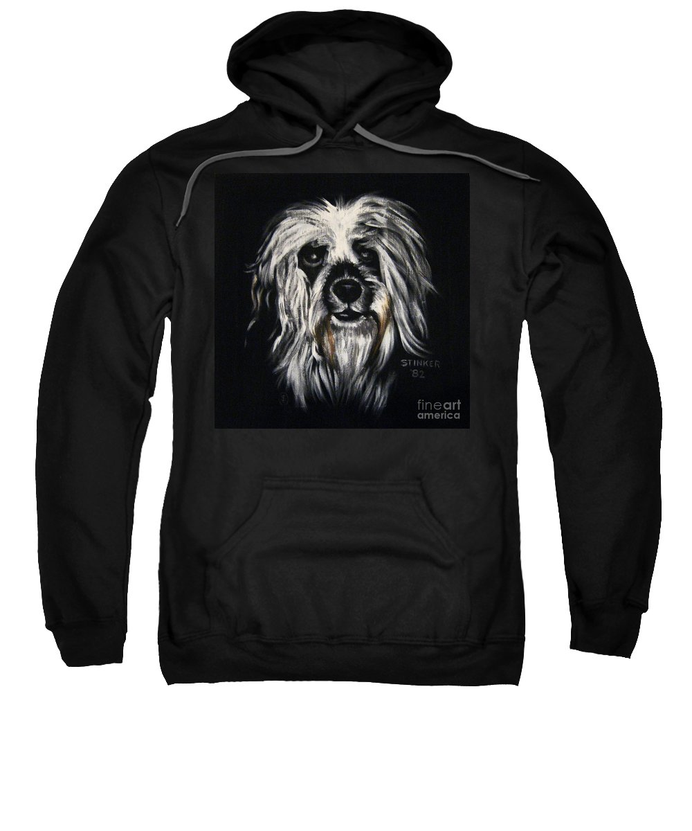 Dog Sweatshirt featuring the painting Stinker by Sherry Oliver
