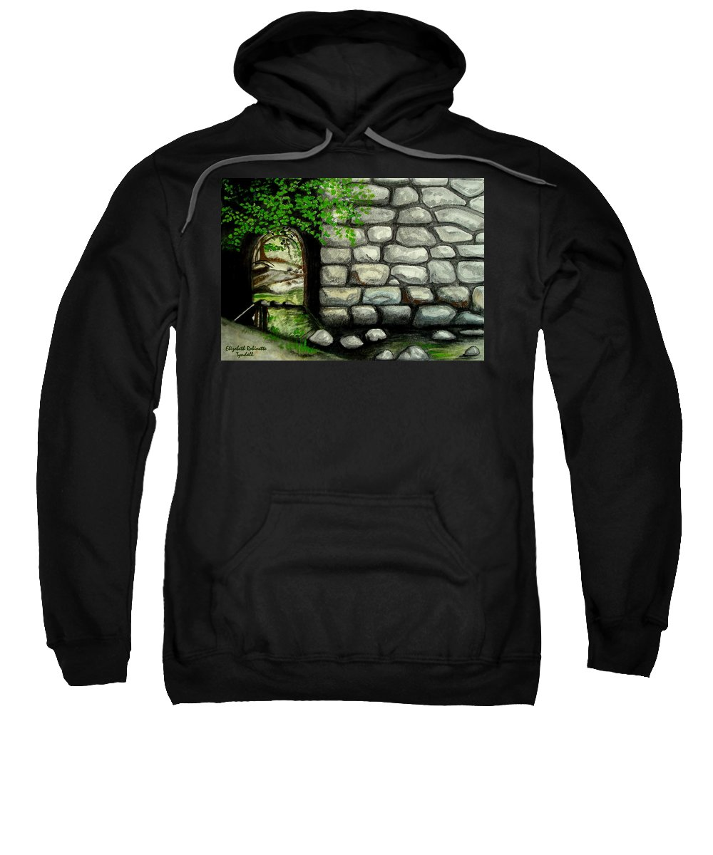 Landscape Sweatshirt featuring the painting Stone Tunnel by Elizabeth Robinette Tyndall