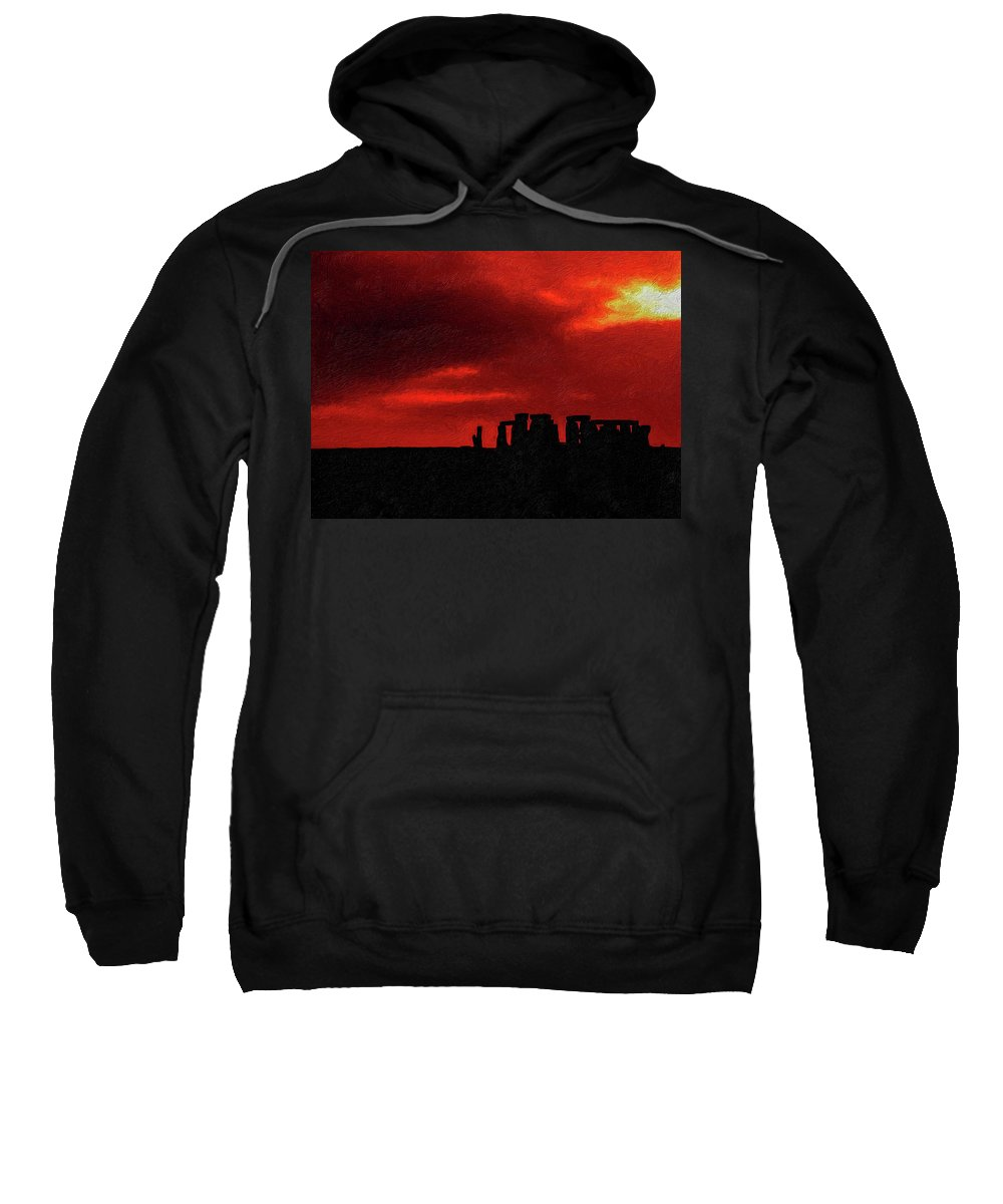 Stonehenge Sweatshirt featuring the photograph Stonehenge Impasto by Steve Harrington