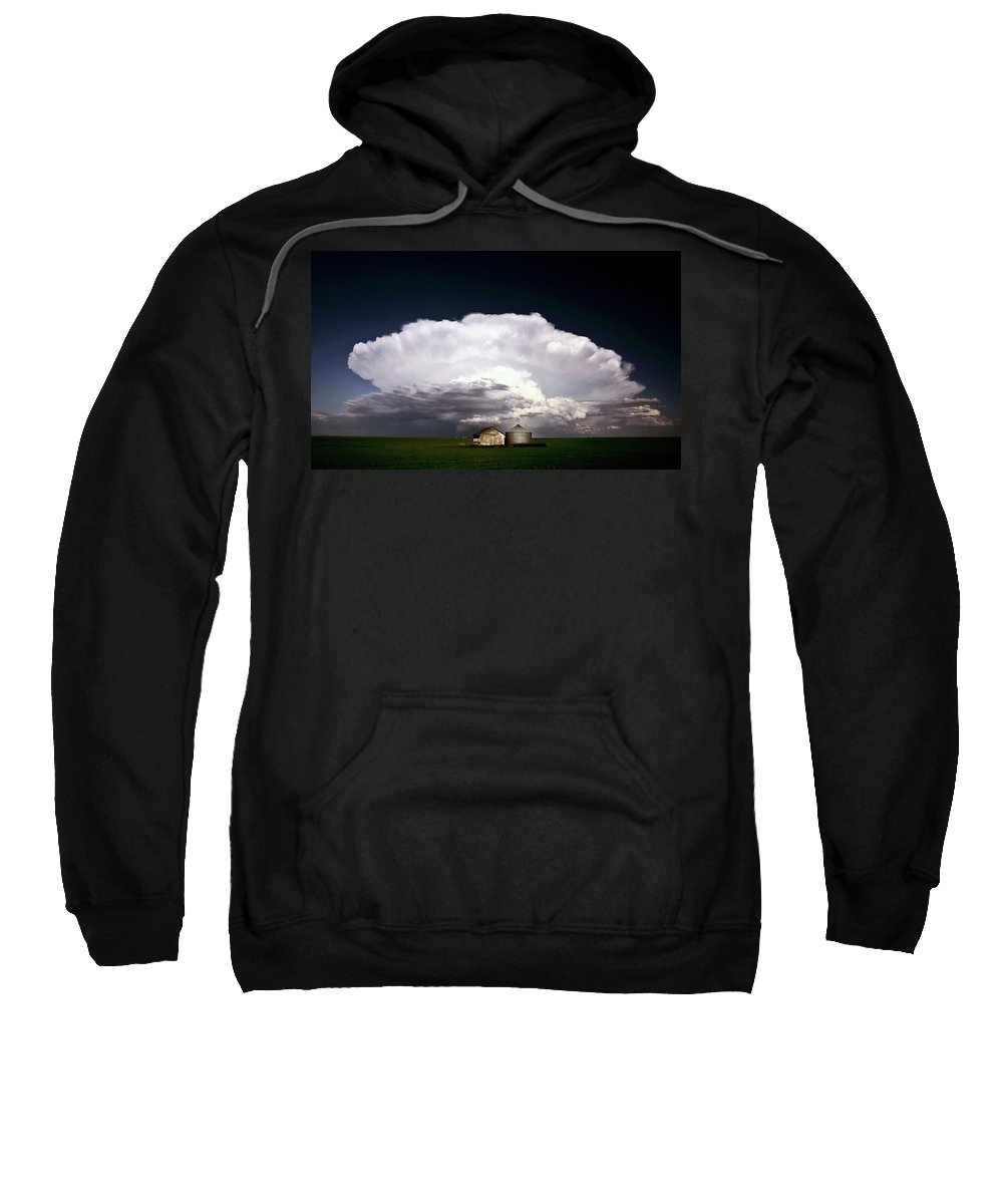 Cumulonimbus Sweatshirt featuring the digital art Storm Clouds Over Saskatchewan Granaries by Mark Duffy