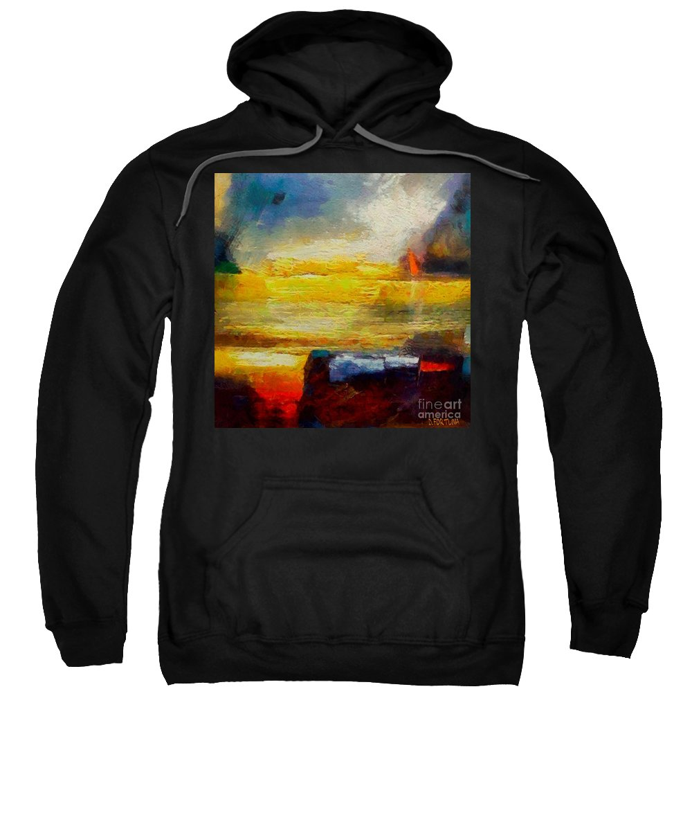 Seascape Sweatshirt featuring the painting Storm Is Coming by Dragica Micki Fortuna