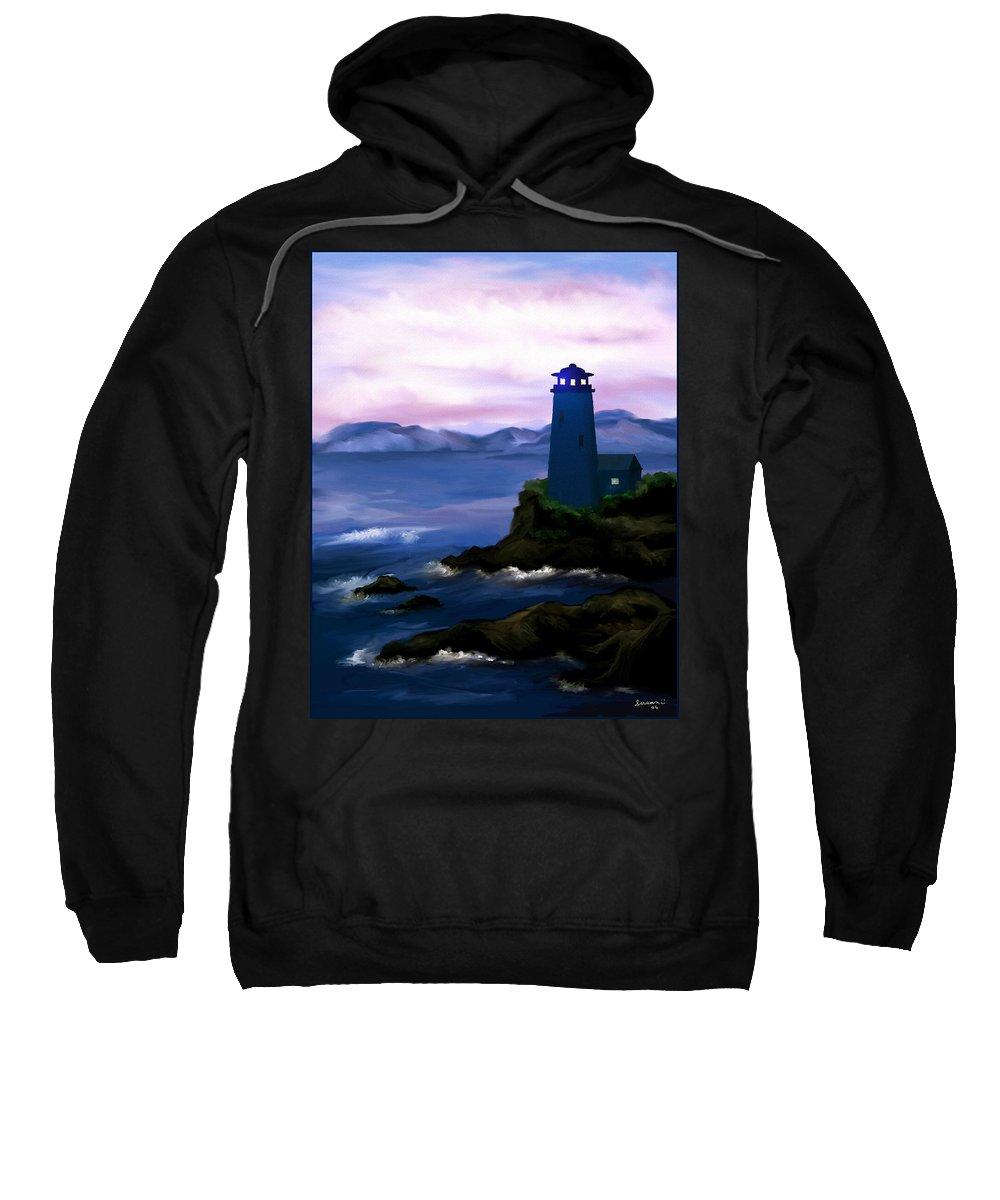 Digital Art Sweatshirt featuring the painting Stormy Blue Night by Susan Kinney