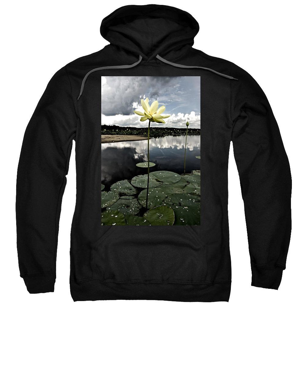 Lotus Sweatshirt featuring the photograph Stormy Lotus by Rich Leighton