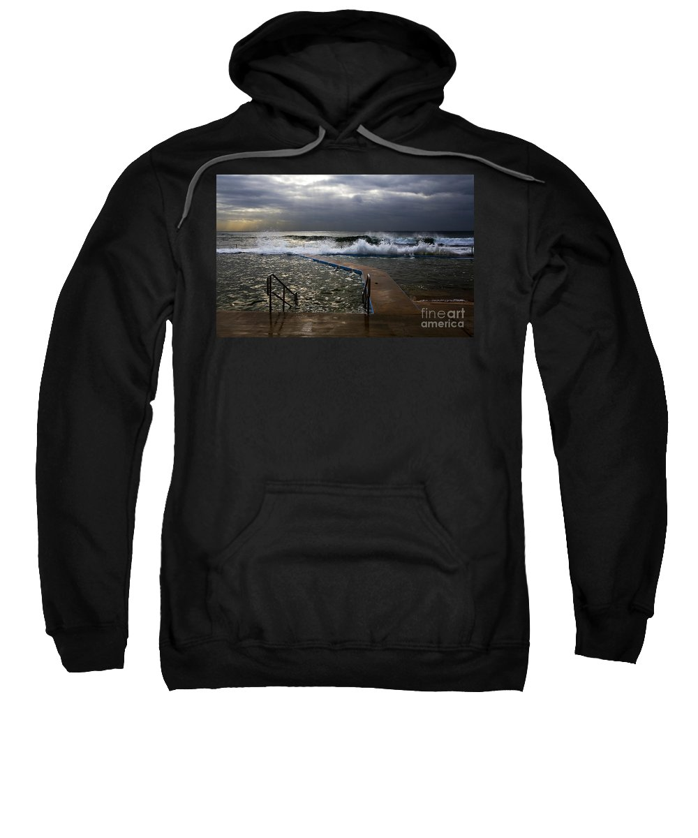 Storm Clouds Collaroy Beach Australia Sweatshirt featuring the photograph Stormy Morning At Collaroy by Sheila Smart Fine Art Photography