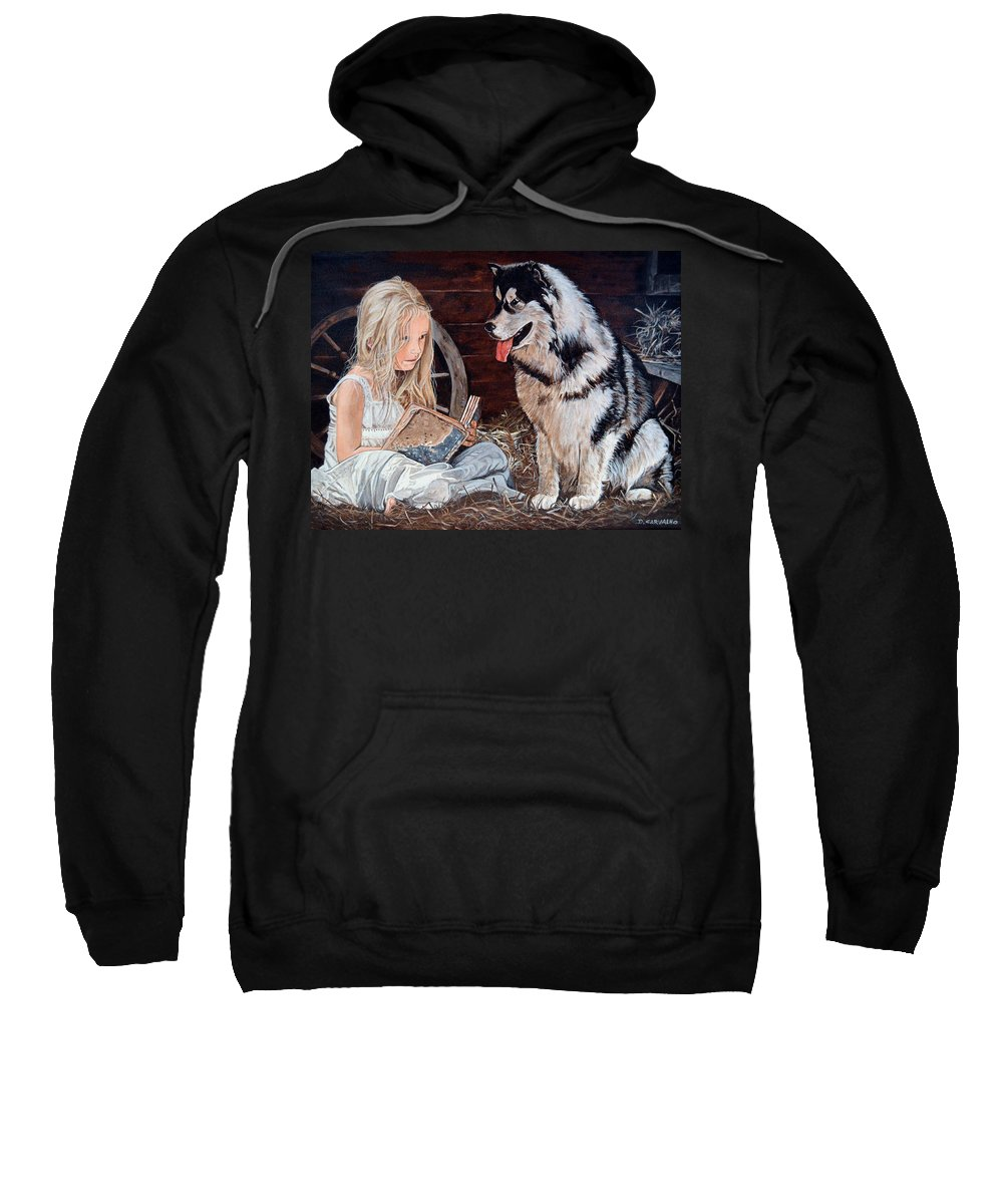 Pets Sweatshirt featuring the painting Story Time by Daniel Carvalho