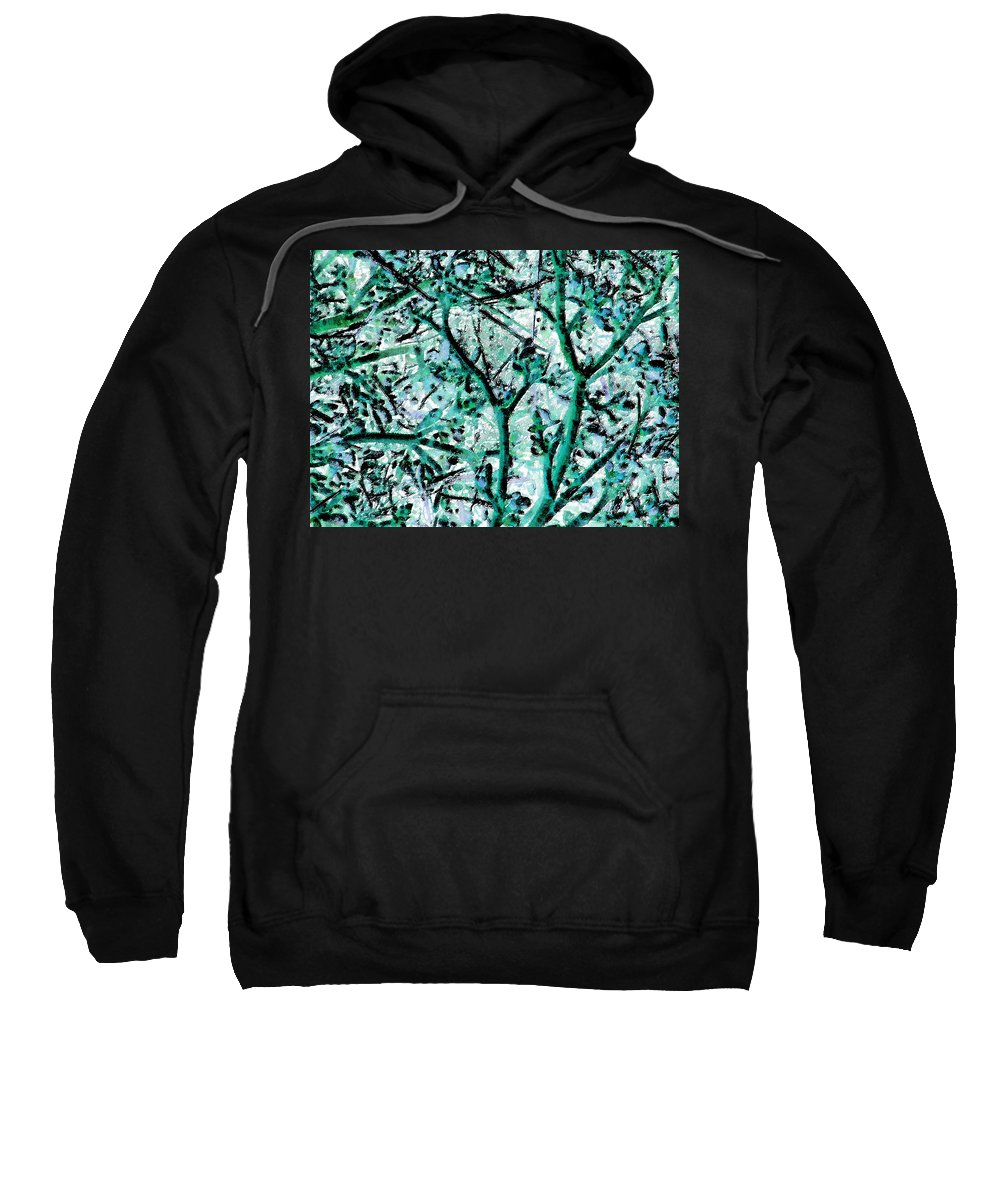 Abstract Sweatshirt featuring the digital art Strange Forest In Springtime by Lenore Senior