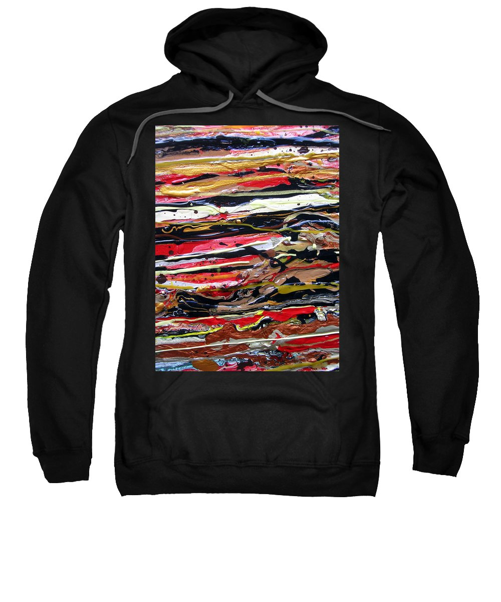 Original Acrylic Abstract Painting Entitled strata Sweatshirt featuring the painting Strata by Dawn Hough Sebaugh