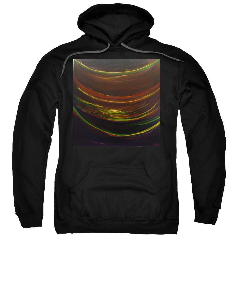 Rainbow Red Yellow Obama Sweatshirt featuring the painting Strata Surf by Jack Diamond