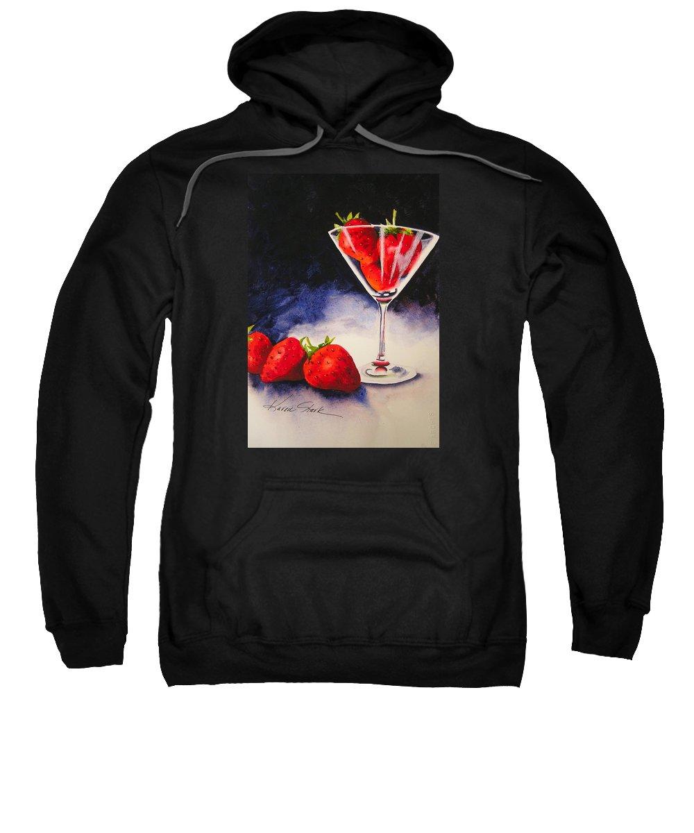 Strawberry Sweatshirt featuring the painting Strawberrytini by Karen Stark