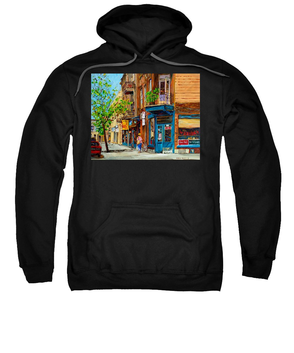 Wilensky's Diner Sweatshirt featuring the painting Streets Of Montreal Over 500 Prints Available By Montreal Cityscene Specialist Carole Spandau by Carole Spandau