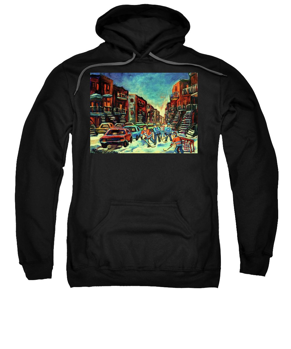 Montreal Sweatshirt featuring the painting Streetscenes Of Montreal Hockey Paintings By Montreal Cityscene Specialist Carole Spandau by Carole Spandau