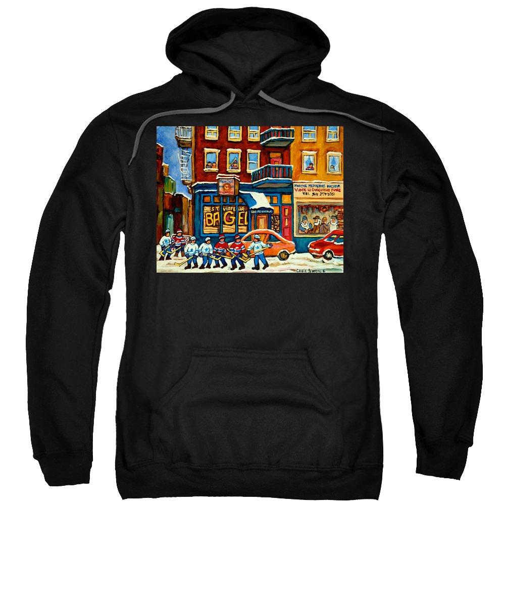 St.viateur Bagel Sweatshirt featuring the painting St.viateur Bagel Hockey Montreal by Carole Spandau