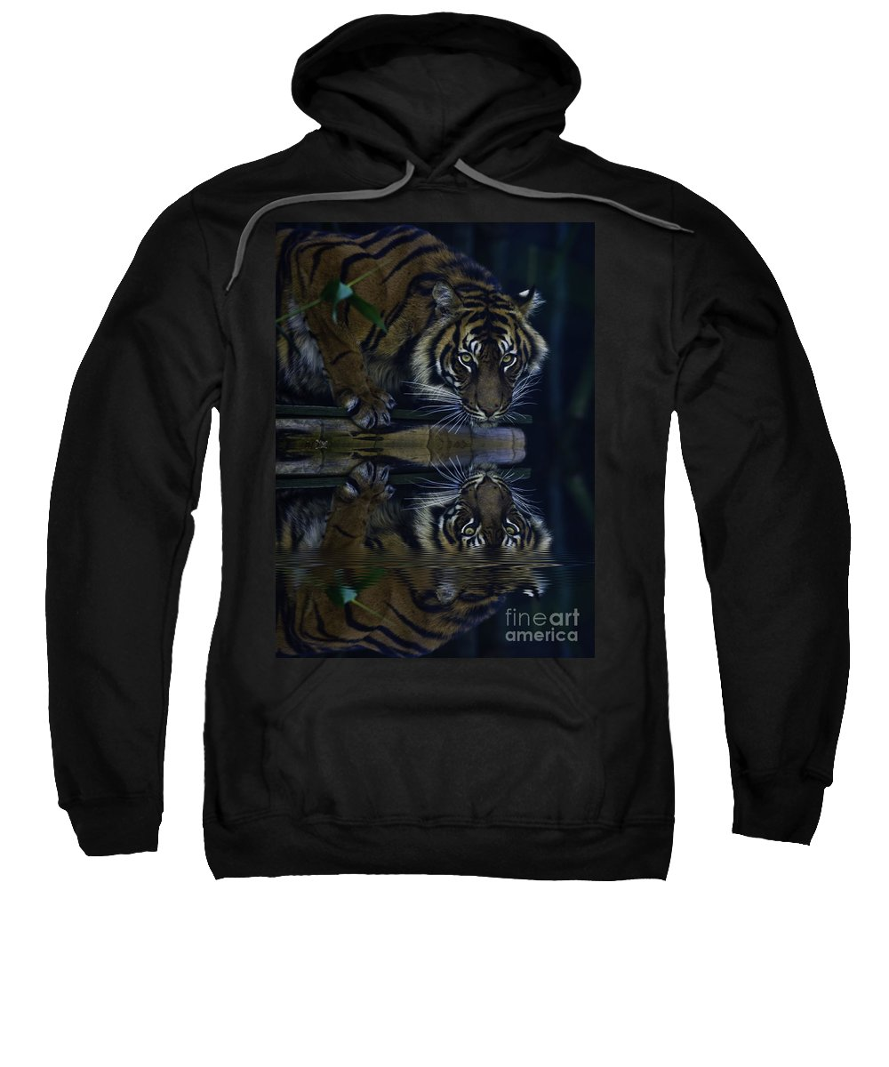 Sumatran Tiger Sweatshirt featuring the photograph Sumatran Tiger Reflection by Sheila Smart Fine Art Photography