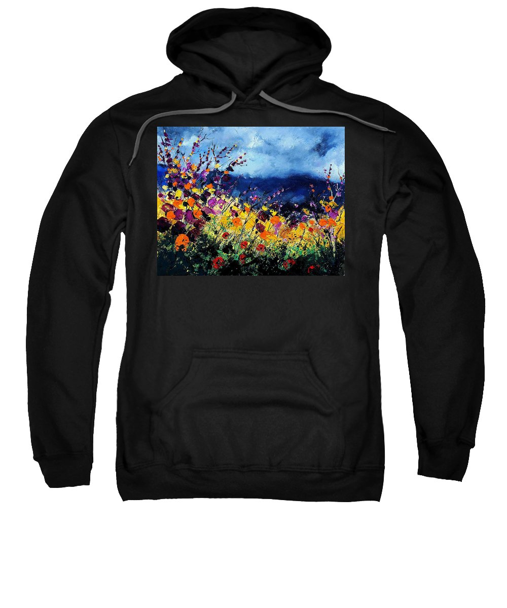 Poppy Sweatshirt featuring the painting Summer 45 by Pol Ledent