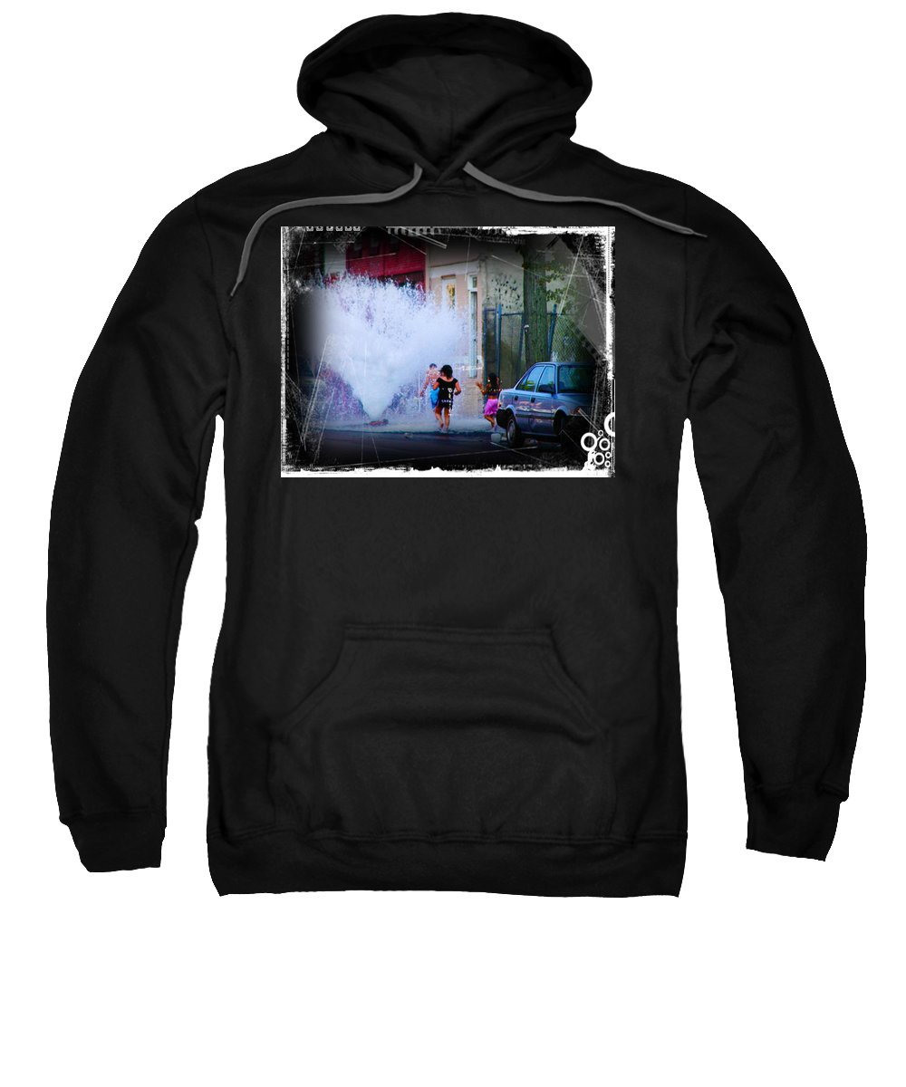 Fountain Sweatshirt featuring the photograph Summer In The City by Bill Cannon