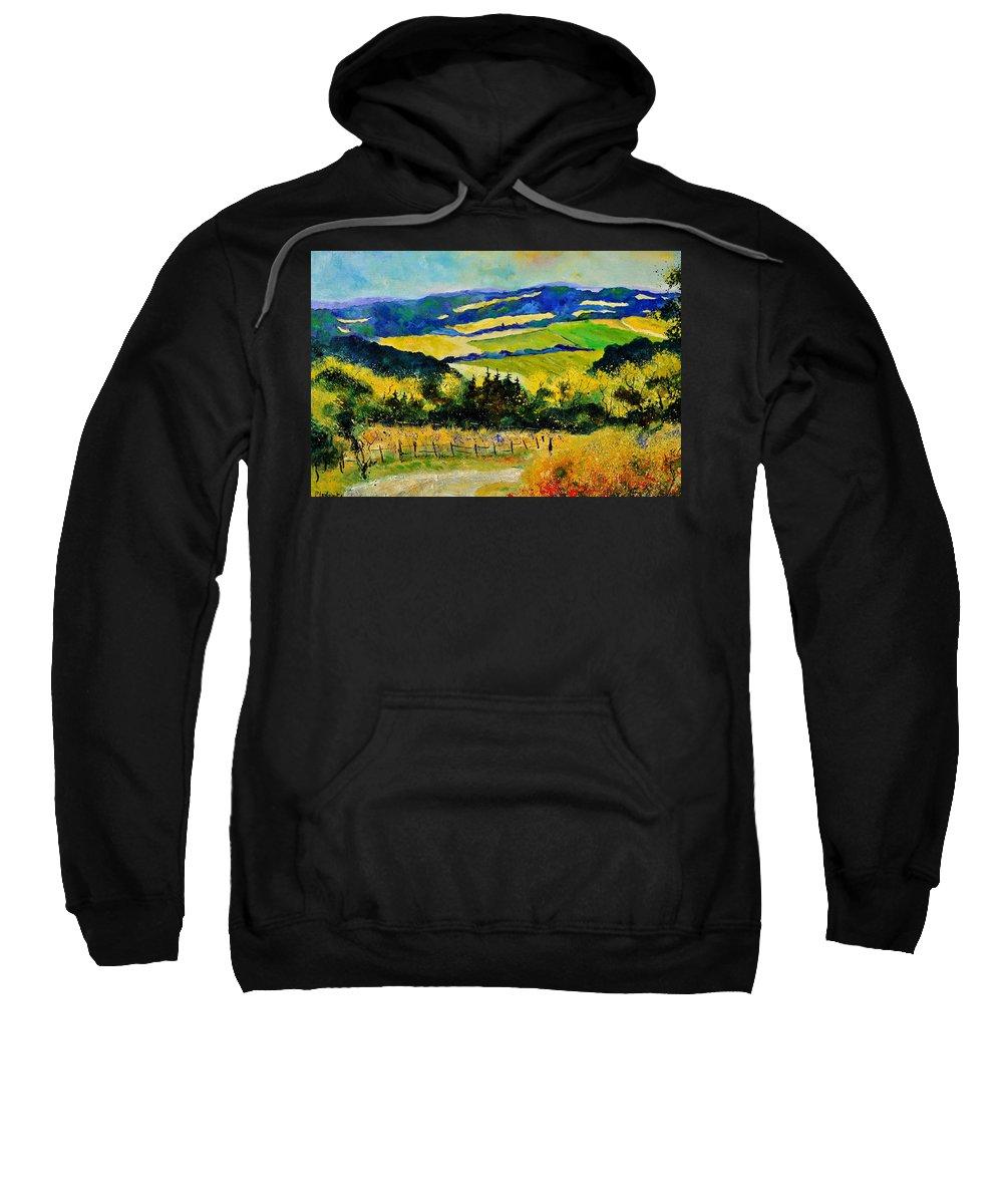 Landscape Sweatshirt featuring the painting Summer Landscape by Pol Ledent