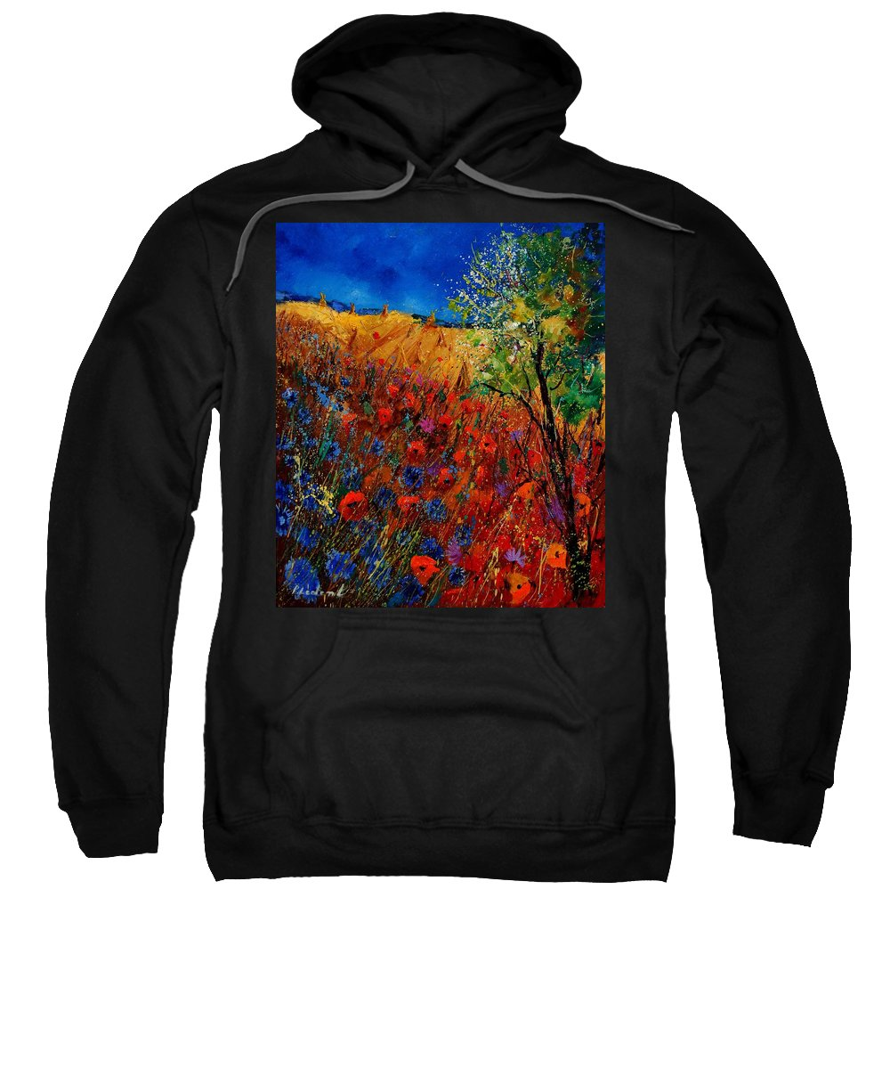 Flowers Sweatshirt featuring the painting Summer Landscape With Poppies by Pol Ledent