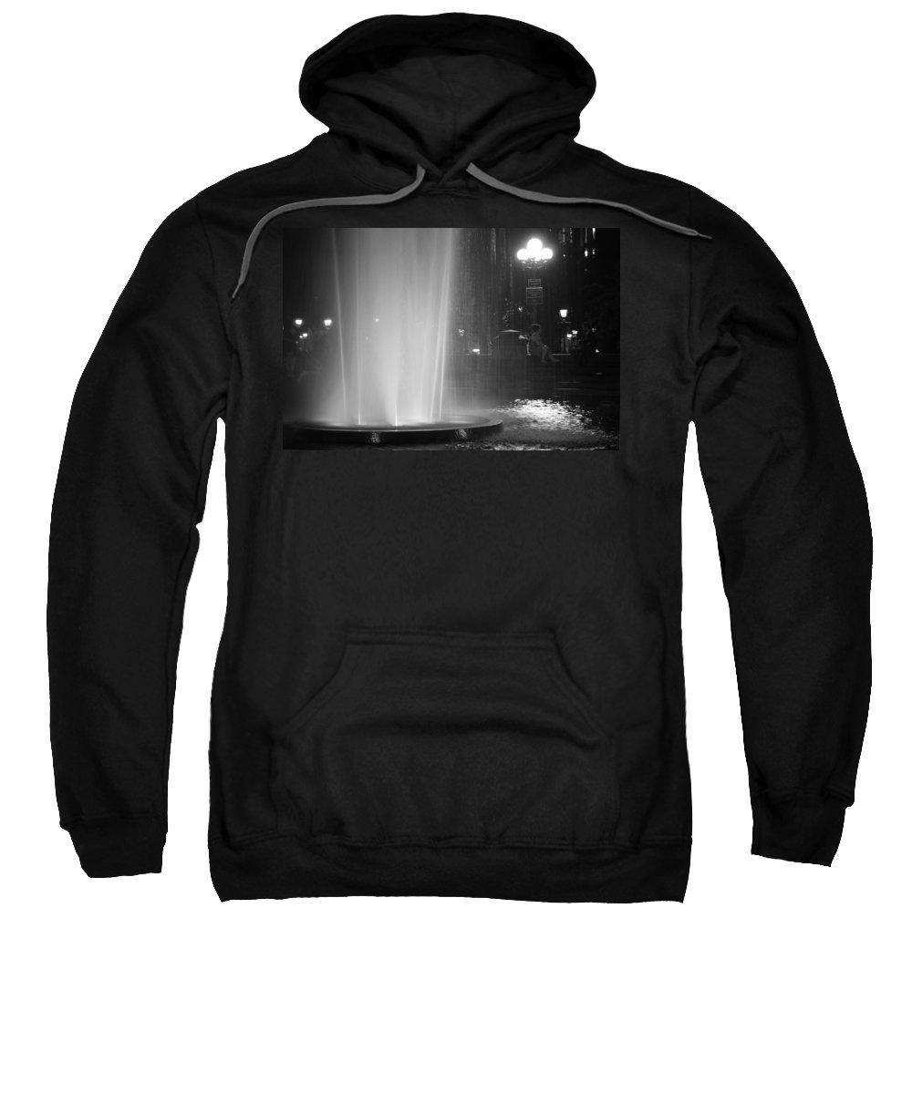 Romantic Sweatshirt featuring the photograph Summer Romance - Washington Square Park Fountain At Night by Vivienne Gucwa
