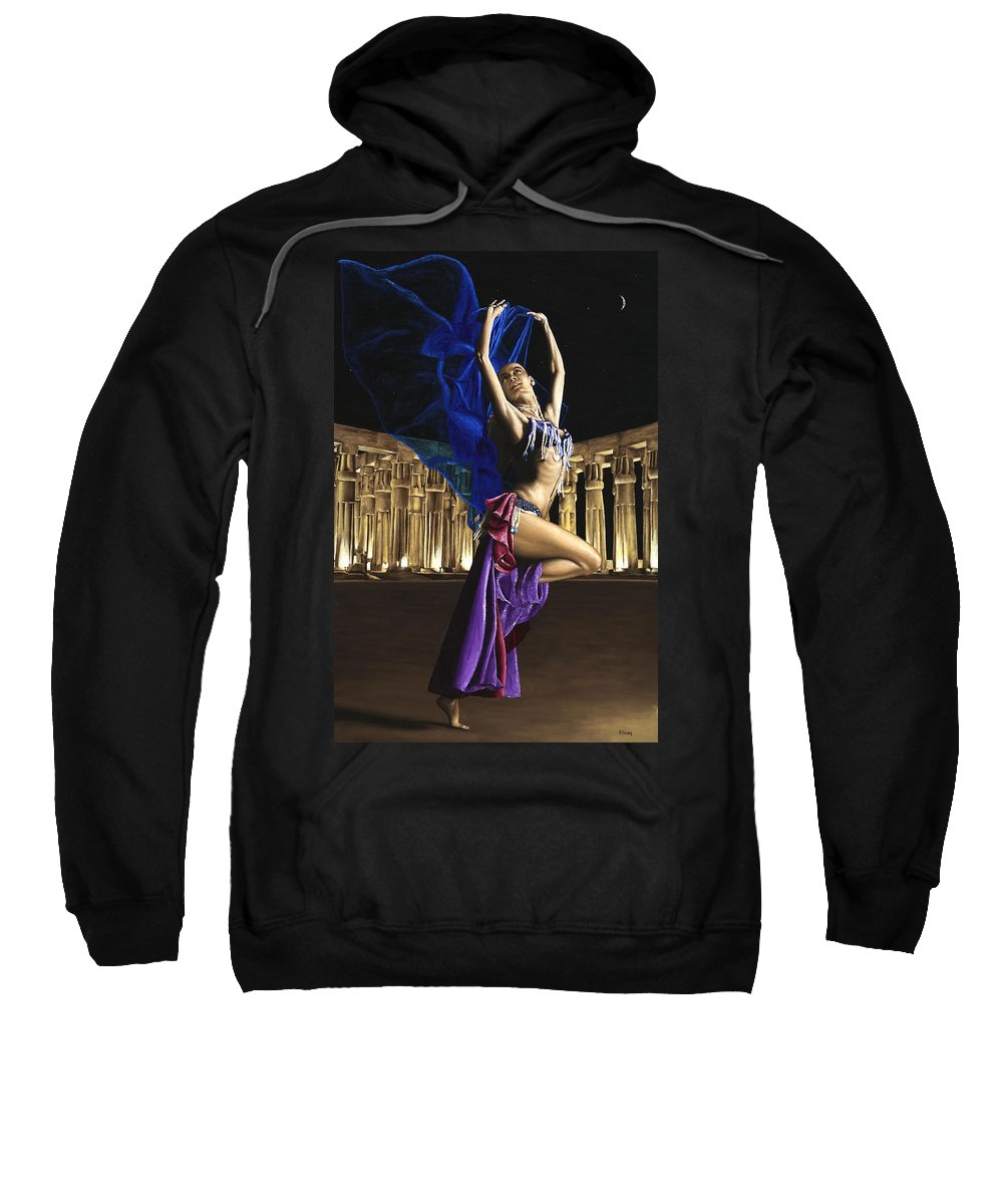 Belly Sweatshirt featuring the painting Sun Court Dancer by Richard Young
