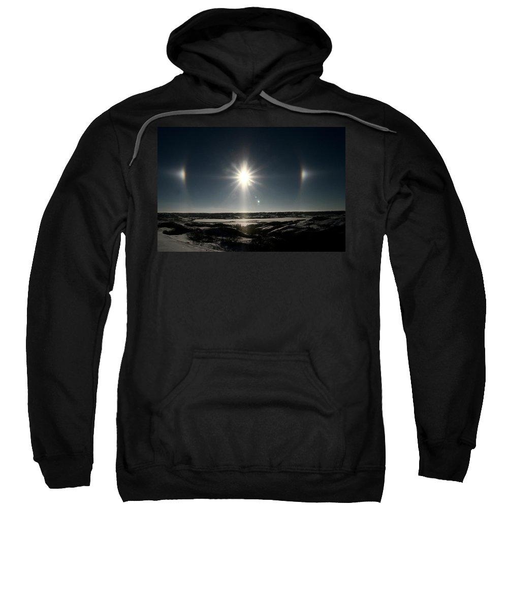 Sun Sweatshirt featuring the digital art Sun Dogs Besides Settig Sun by Mark Duffy