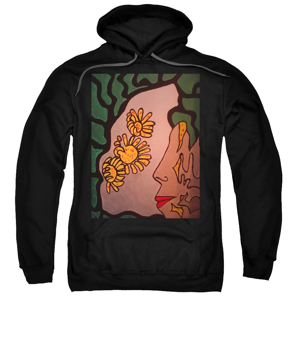 Abstract Art Sweatshirt featuring the painting Sun Flower Conection by Marcela Hessari