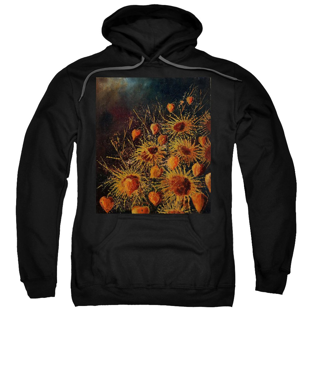 Flowers Sweatshirt featuring the painting Sun Flowers And Physialis by Pol Ledent