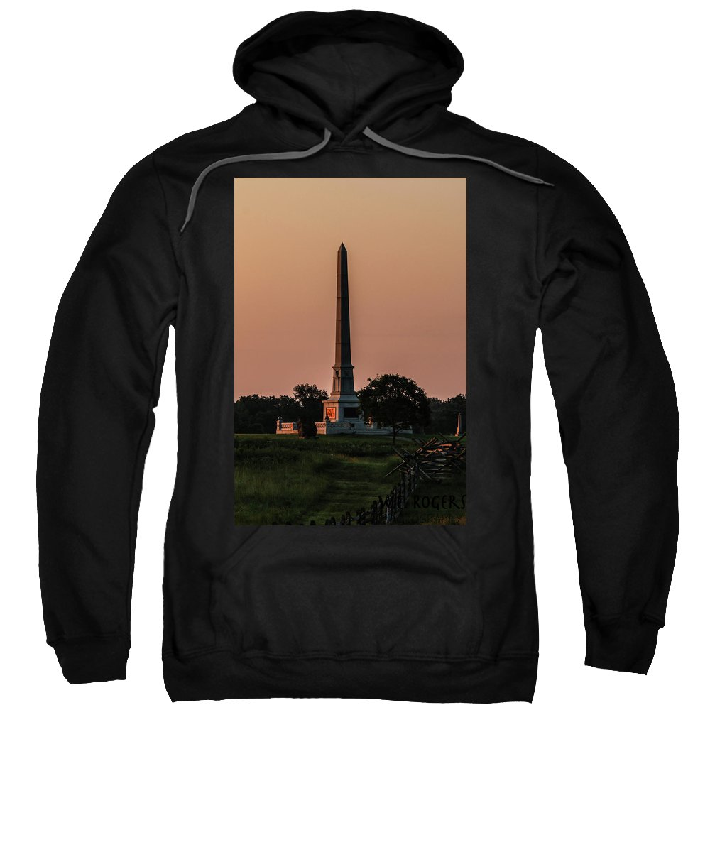 This Is A Photo Of The Sun Hitting The Side Of The United States Regulars Monument On Hancock Avenue Sweatshirt featuring the photograph Sun Hitting The United States Regular Monument by William Rogers