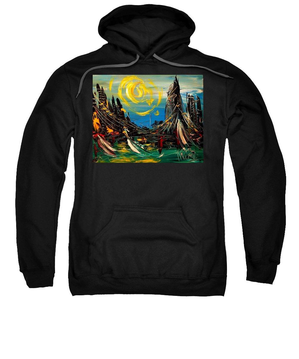 Newyork Sweatshirt featuring the painting Sun Sin City by Mark Kazav