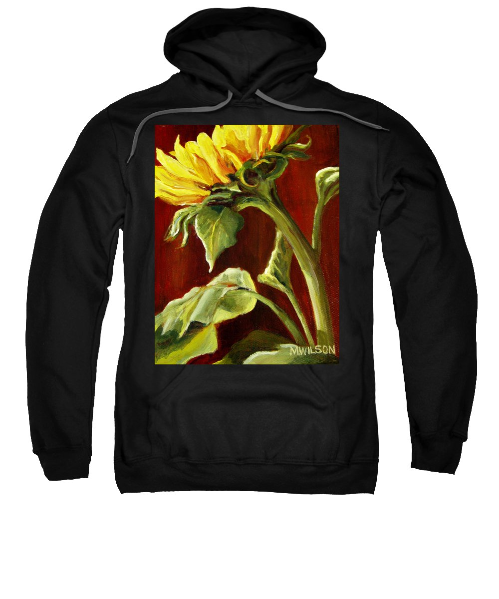 Flower Sweatshirt featuring the painting Sunflower - Sunny Side Up by Marjory Wilson