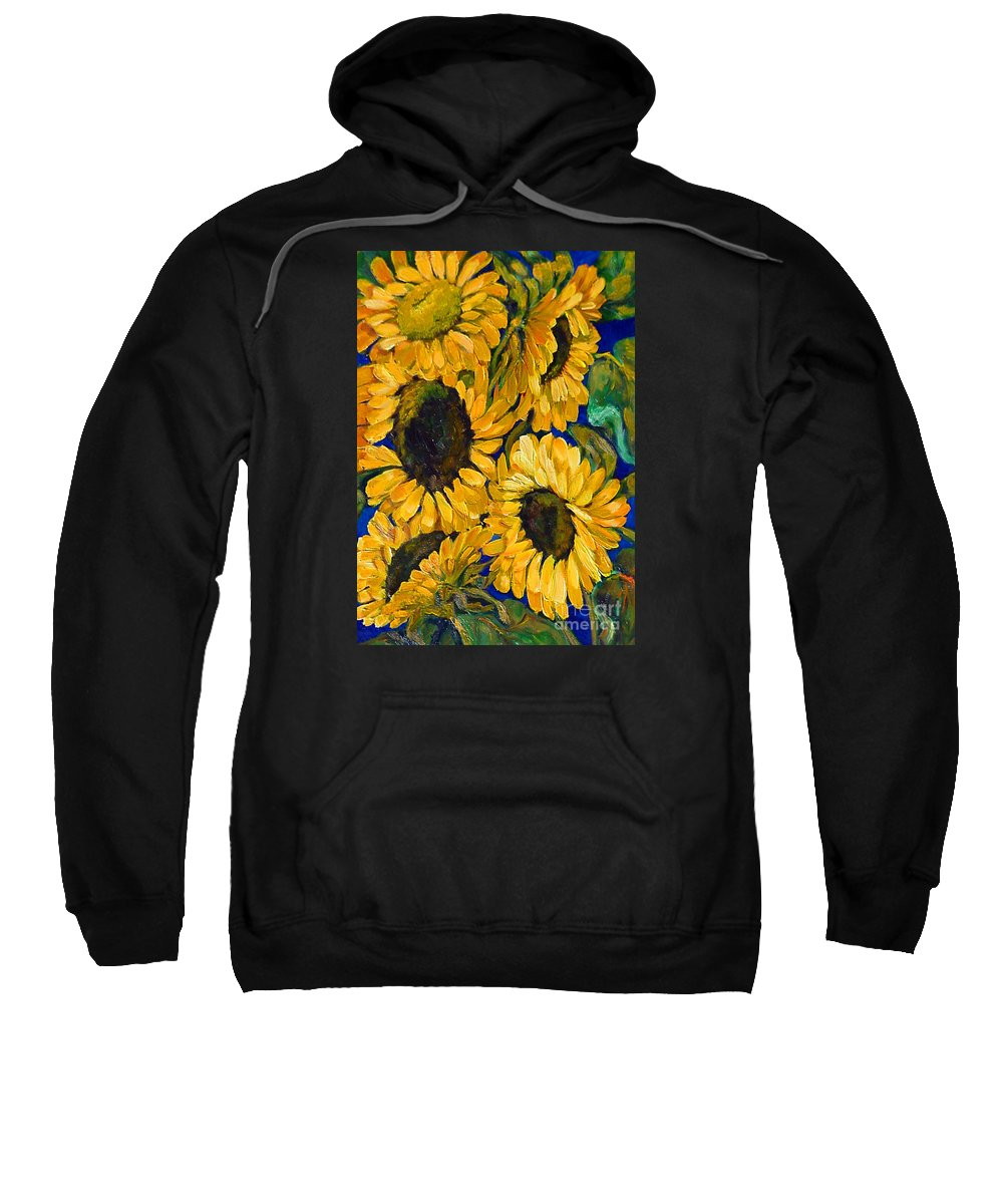 Flowers Sweatshirt featuring the painting Sunflower Faces by Beverly Boulet