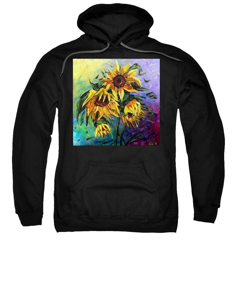 Art Sweatshirt featuring the painting Sunflowers In The Rain by Luiza Vizoli