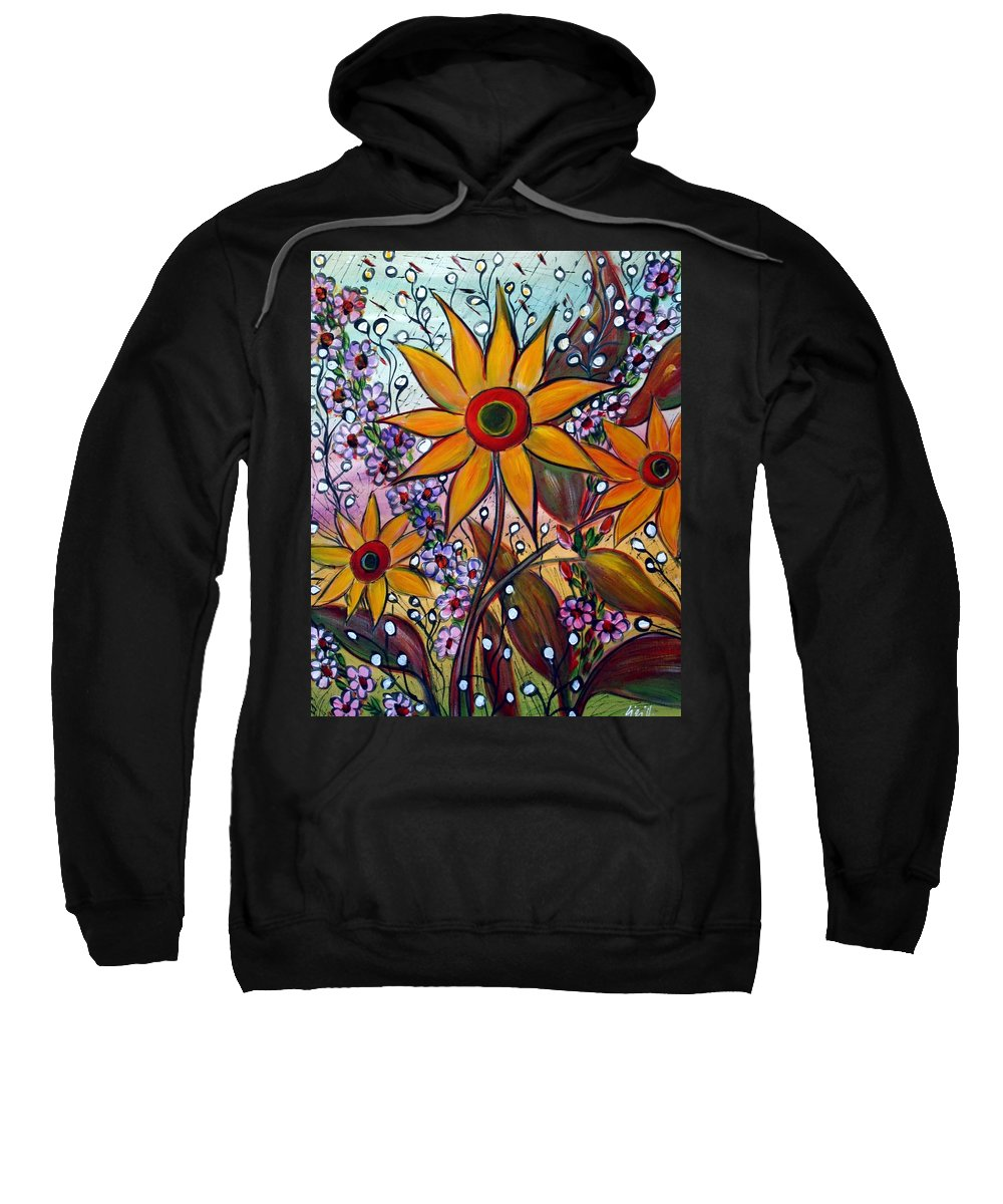 Flowers Sweatshirt featuring the painting Sunflowers by Luiza Vizoli
