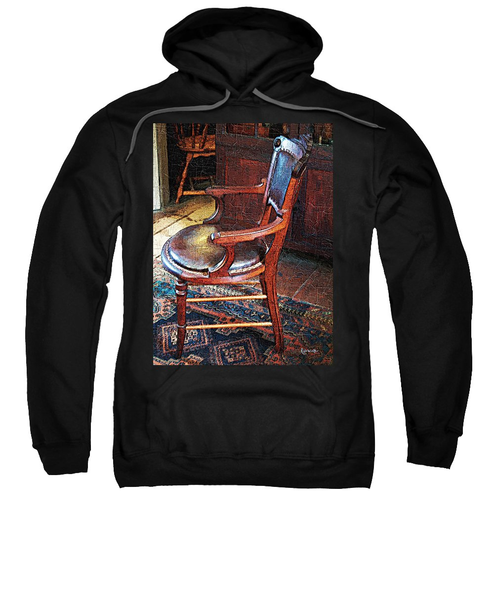 Antiques Sweatshirt featuring the digital art Sunlight On Leather Chair by RC DeWinter