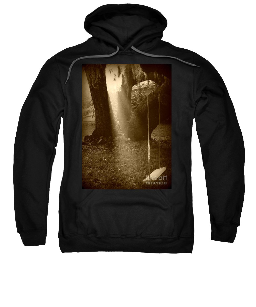 Sepia Sweatshirt featuring the photograph Sunlight On Swing - Sepia by Carol Groenen