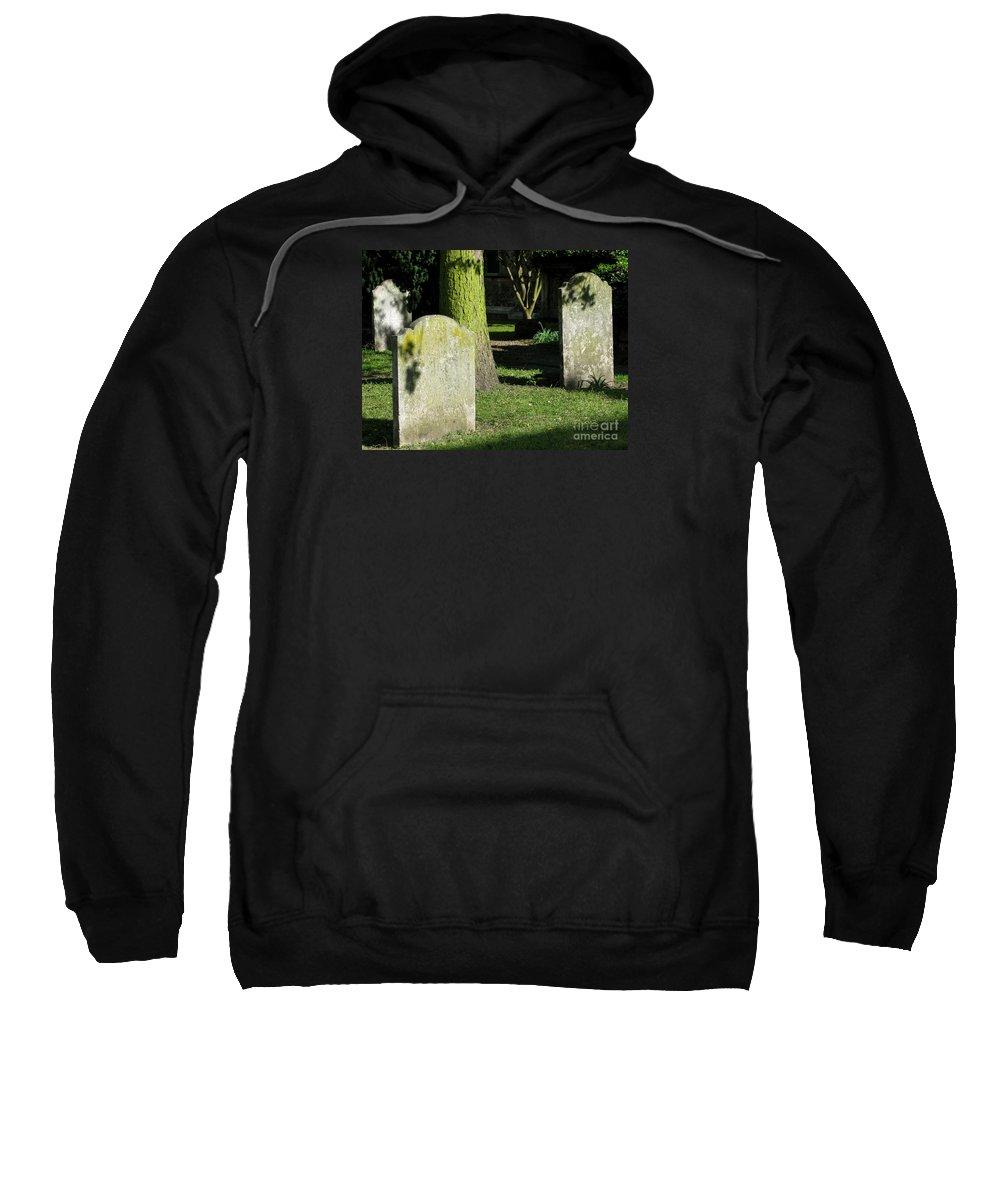 Churchyard Sweatshirt featuring the photograph Sunlit Churchyard by Ann Horn