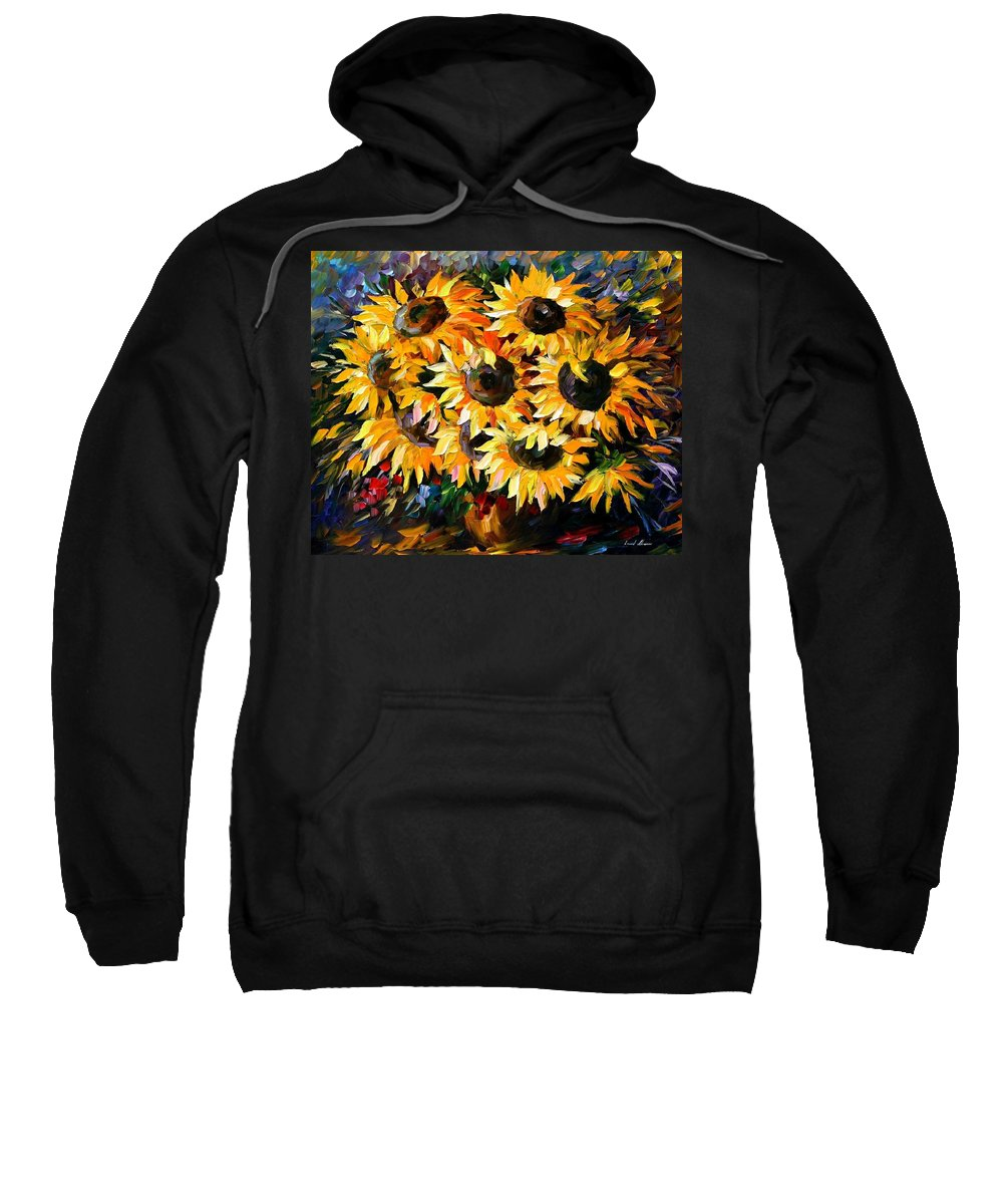 Floral Sweatshirt featuring the painting Sunny Bouquet by Leonid Afremov