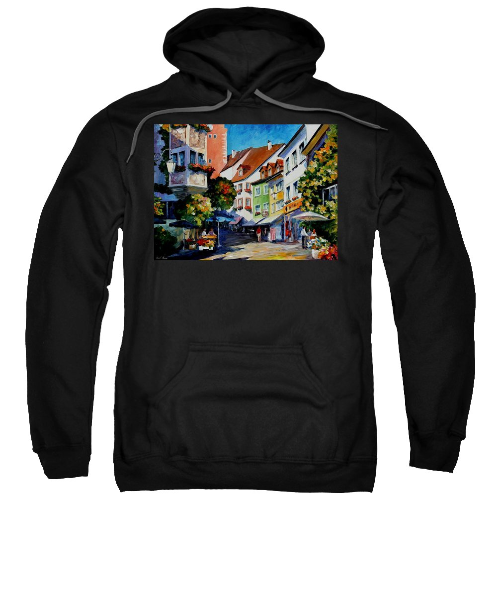 Afremov Sweatshirt featuring the painting Sunny Meersburg - Germany by Leonid Afremov
