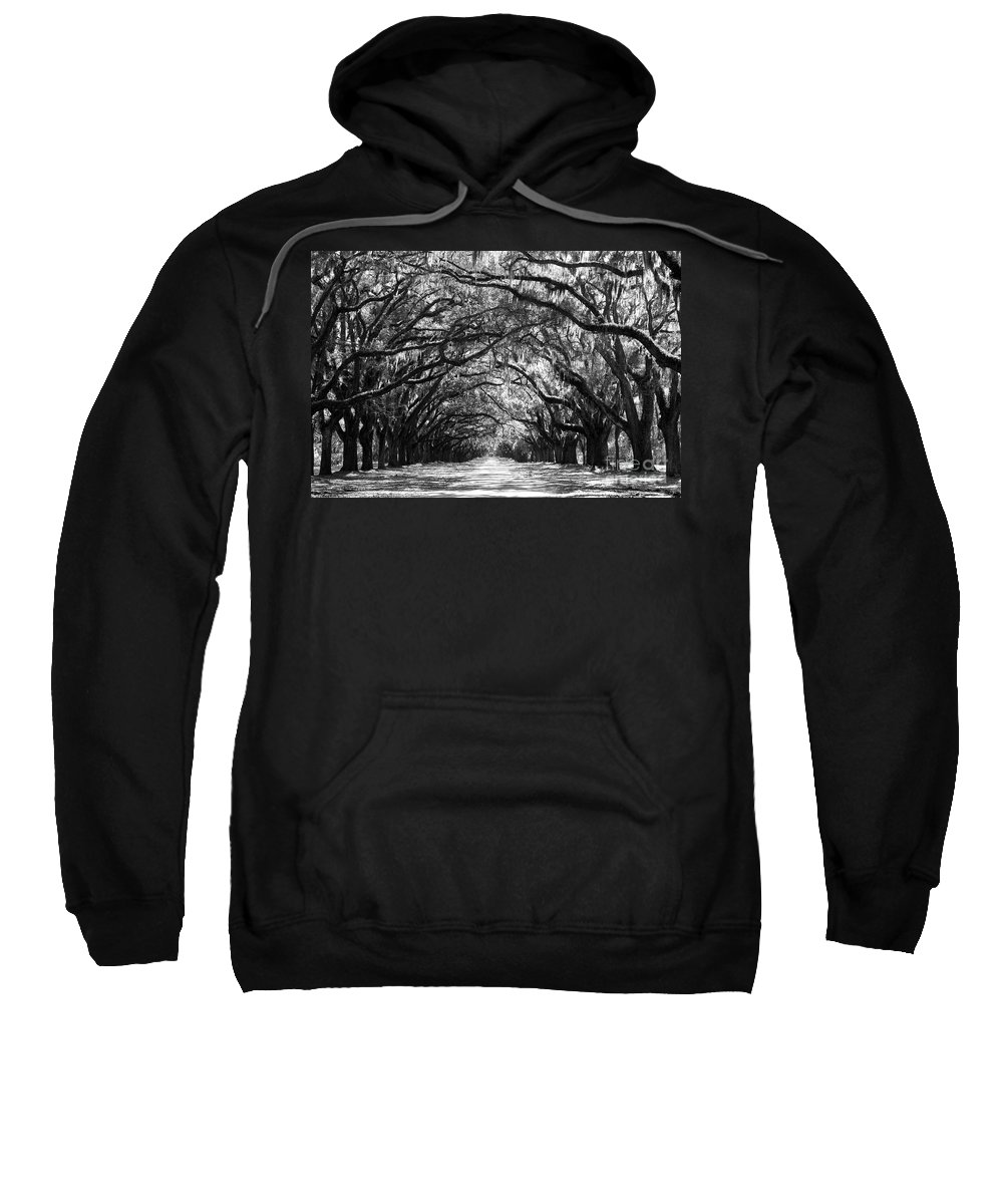 Live Oaks Sweatshirt featuring the photograph Sunny Southern Day - Black And White by Carol Groenen