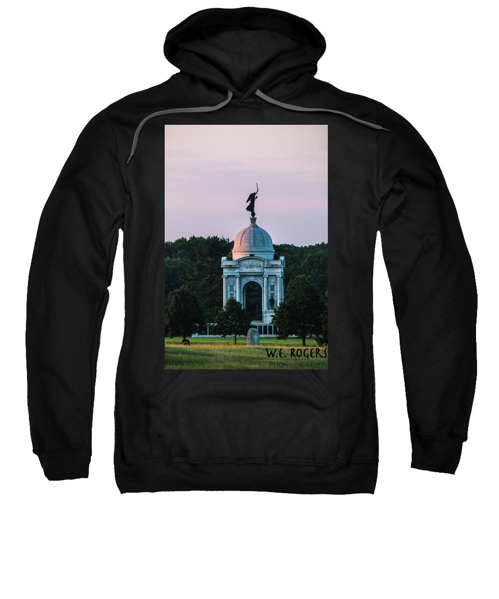 This Is A Photo Of The Sun Hitting The Side Of The Pennsylvania Monument At The Gettysburg Battlefield Sweatshirt featuring the photograph Sunrise On The Pennsylvania Monument Gettysburg Battlefield by William Rogers