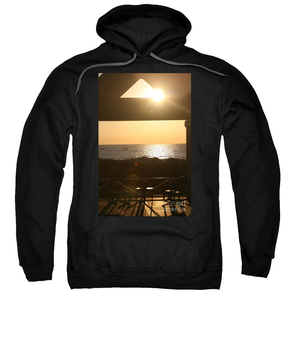 Sunrise Sweatshirt featuring the photograph Sunrise Through The Pavilion by Nadine Rippelmeyer