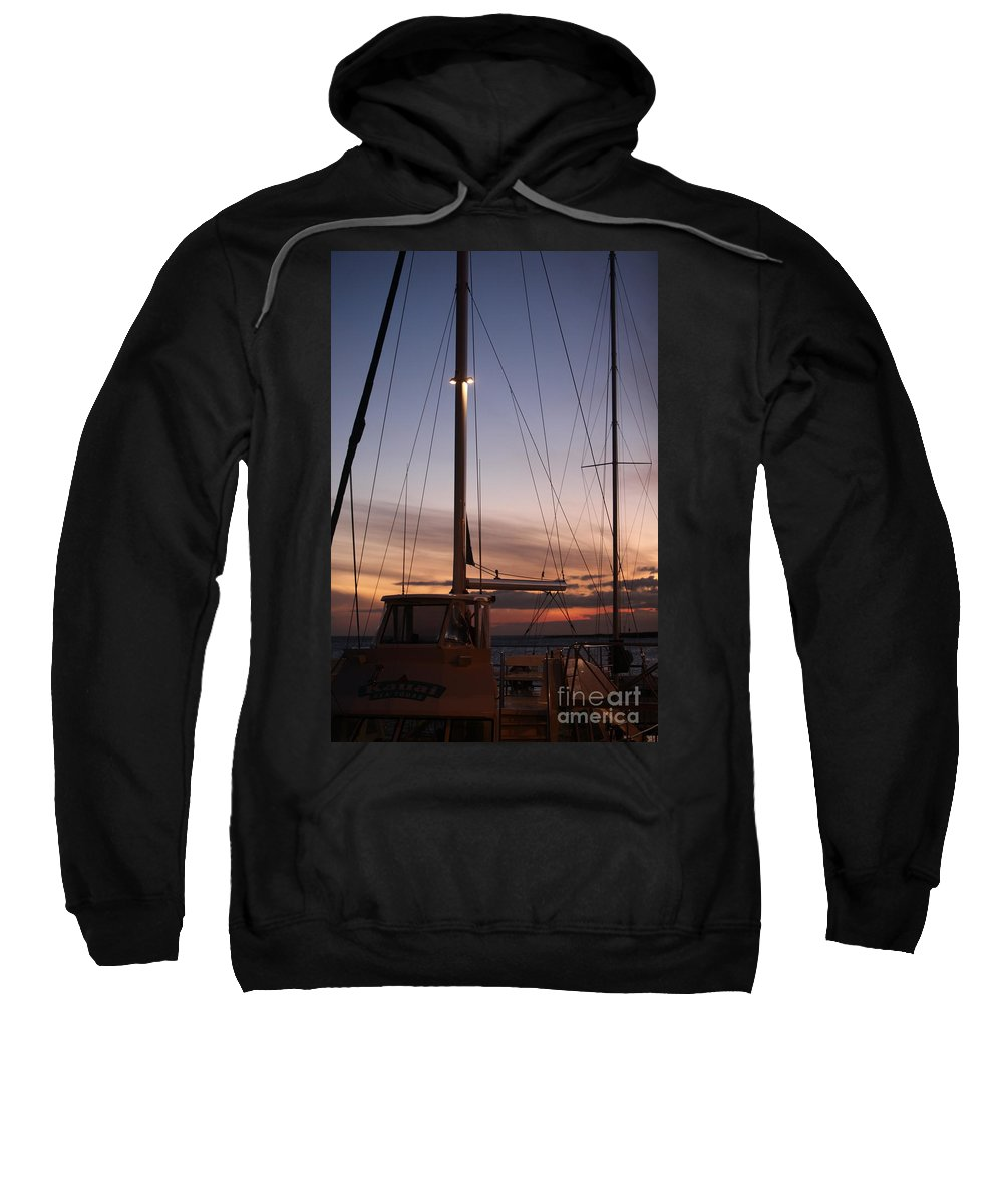 Sunset Sweatshirt featuring the photograph Sunset And Sailboat by Nadine Rippelmeyer