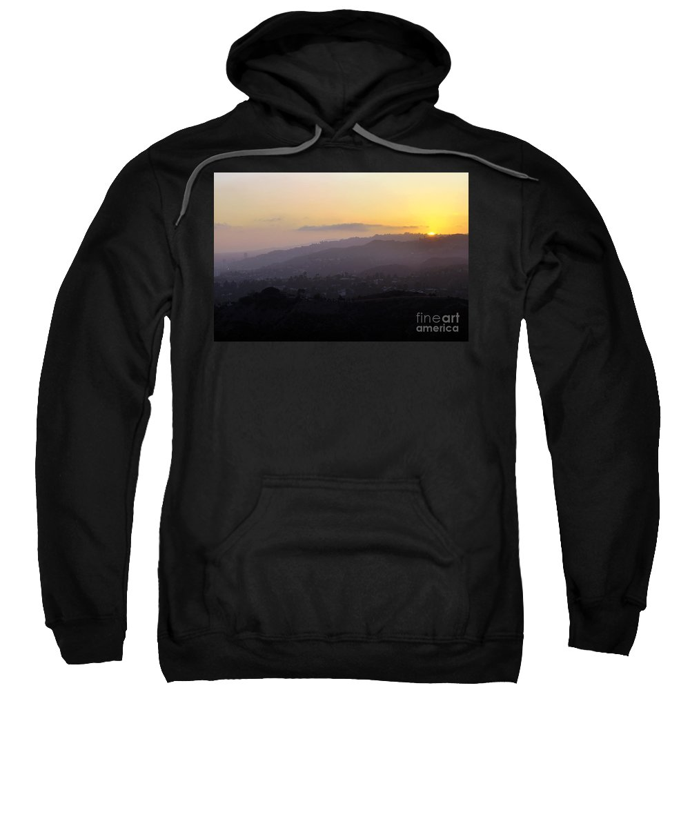 Clay Sweatshirt featuring the photograph Sunset At Griffeth Observatory by Clayton Bruster