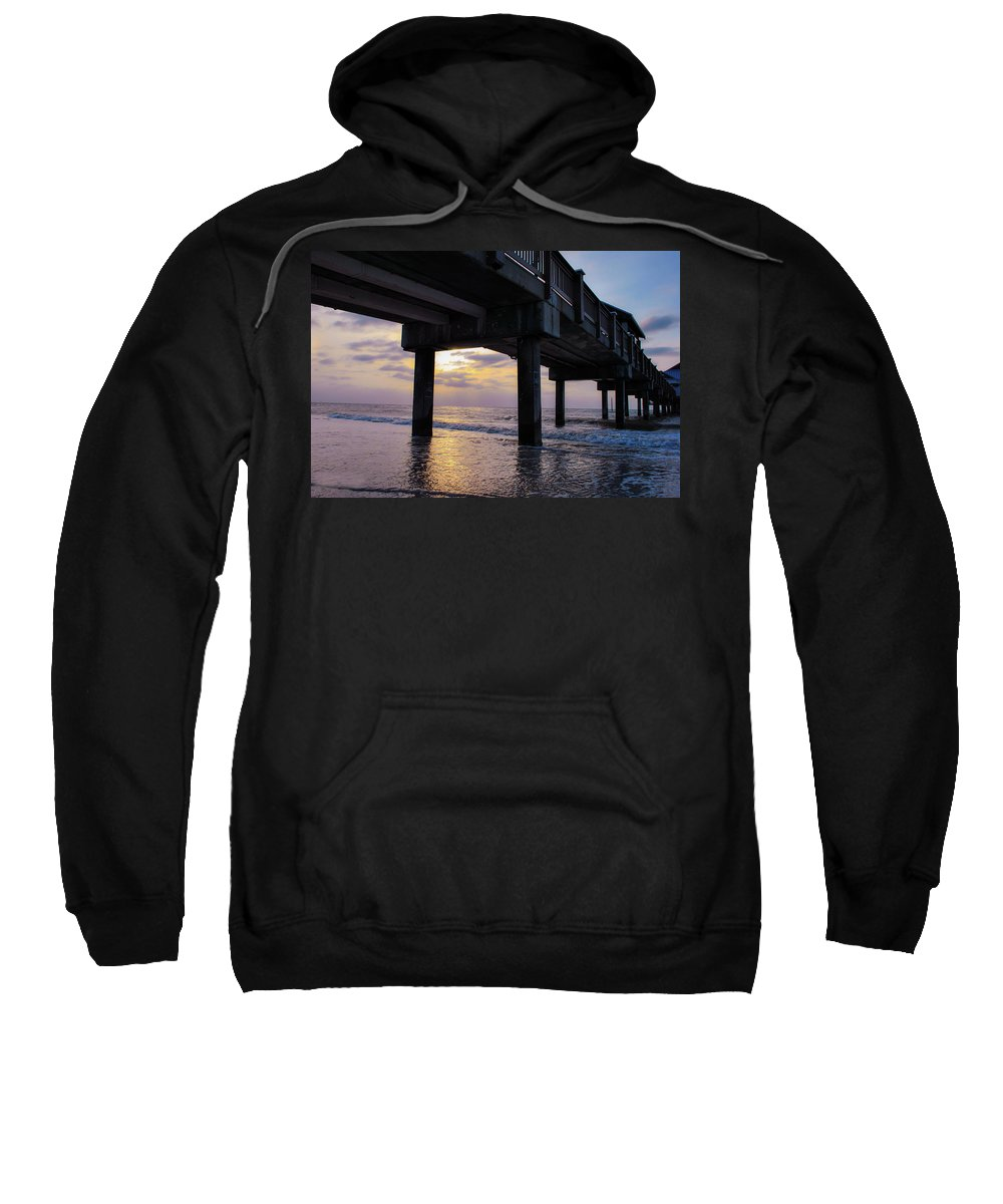 Beach Sweatshirt featuring the photograph Sunset At The Pier by Pamela Williams