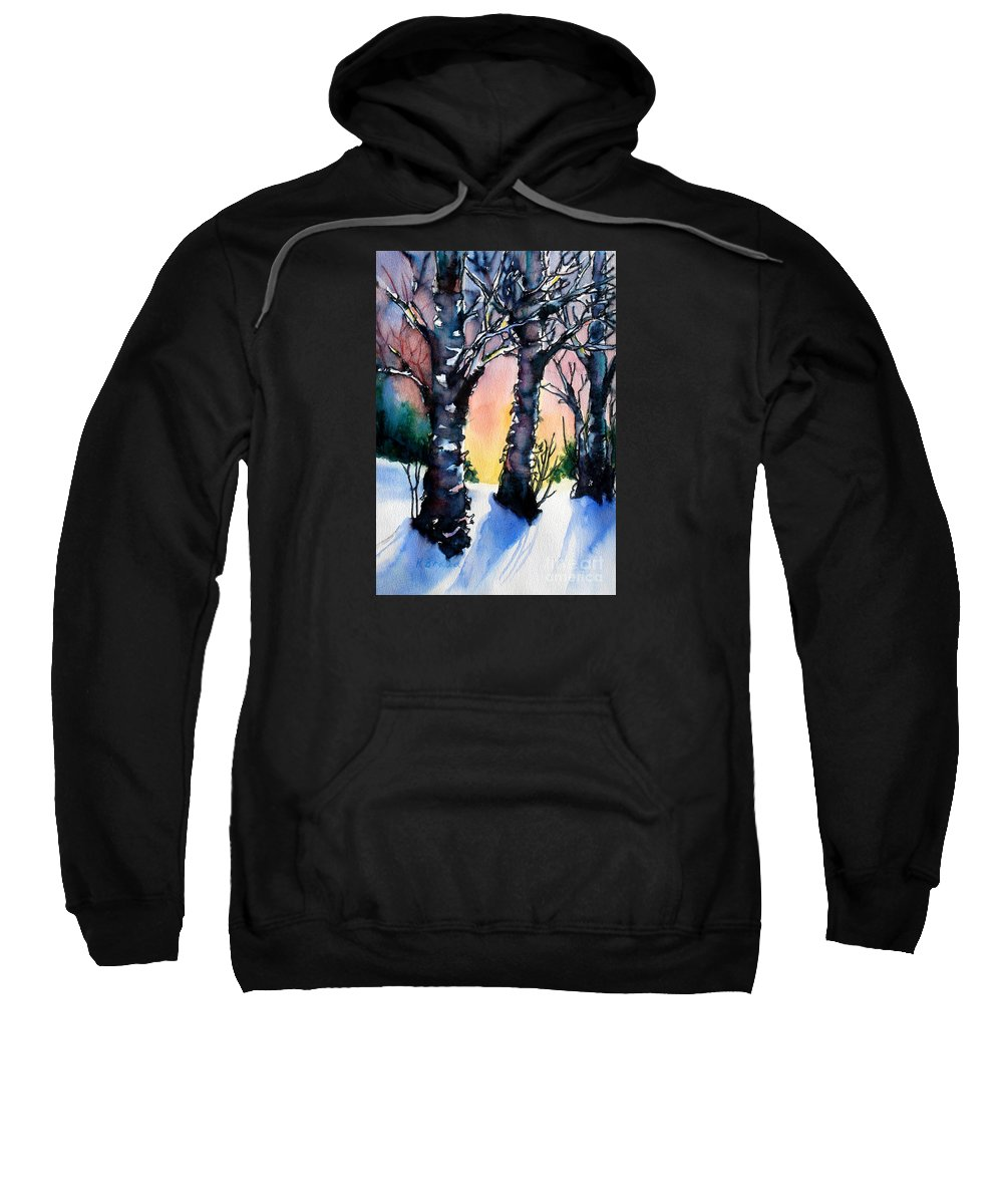 Paintings Sweatshirt featuring the painting Sunset Birches On The Rise by Kathy Braud