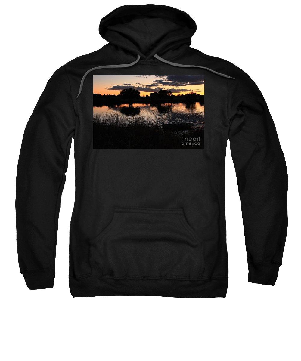 Sunset Sweatshirt featuring the photograph Sunset Boat by Carol Groenen
