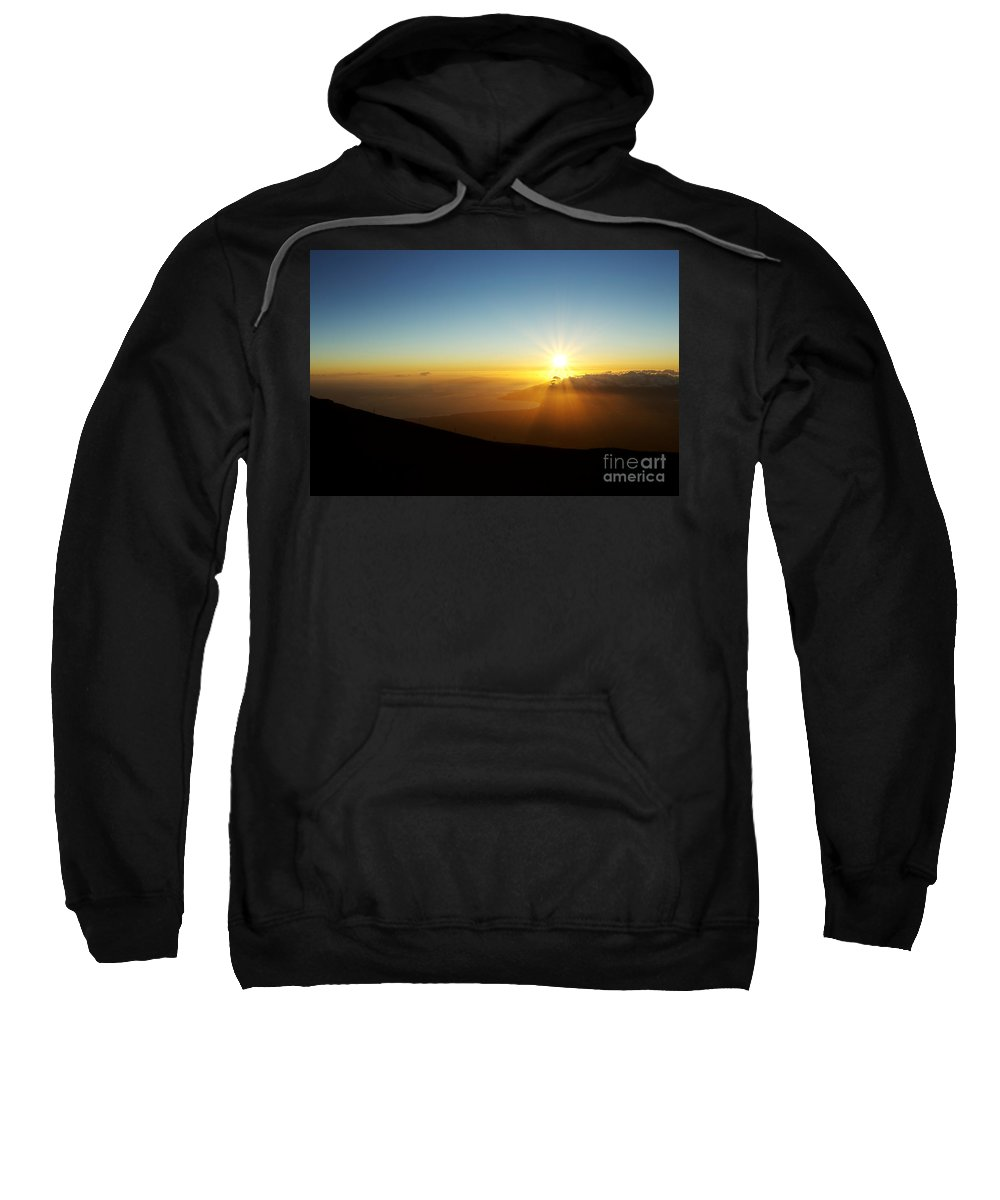 Altitude Sweatshirt featuring the photograph Sunset From Haleakala Crater by MakenaStockMedia - Printscapes