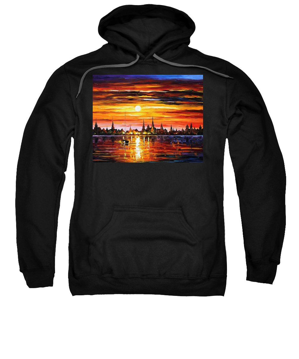 Afremov Sweatshirt featuring the painting Sunset In Barcelona by Leonid Afremov