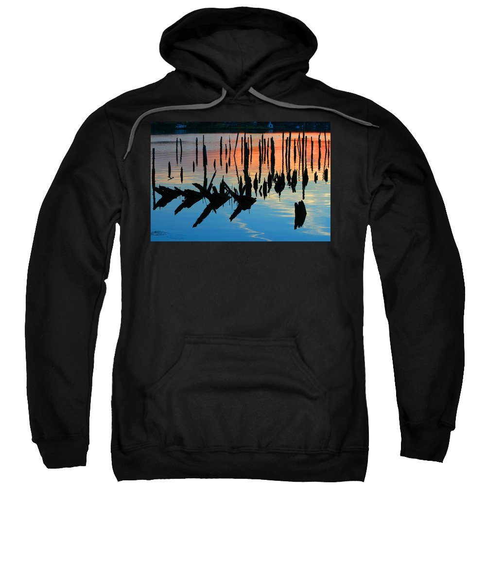 Clay Sweatshirt featuring the photograph Sunset In Colonial Beach Virginia by Clayton Bruster